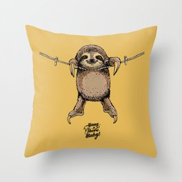 Hang in There Baby Sloth Throw Pillow