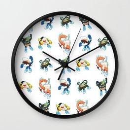 Kaiju Food Monsters Pattern Wall Clock
