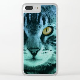 Green Cat Watercolor Clear iPhone Case
