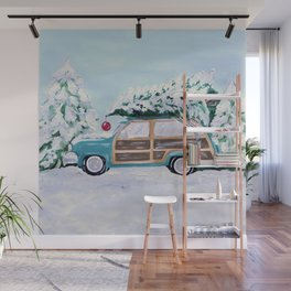Blue vintage Christmas woody car with pine tree Wall Mural