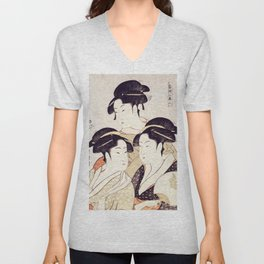 Three Beauties of the Present Day - Japanese Woodblock Print Unisex V-Neck