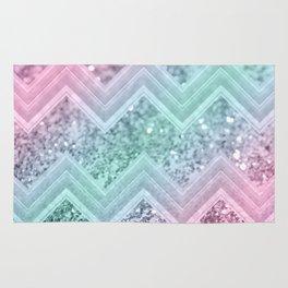 Mermaid Glitter Chevron #2 #shiny #pastel #decor #art #society6 Rug