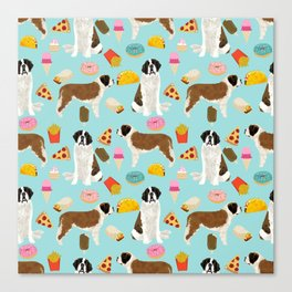 St. Bernard junk food fast food french fries dog breed pattern cute pet gifts Canvas Print