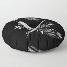 Jurassic Bloom - Black version. Floor Pillow