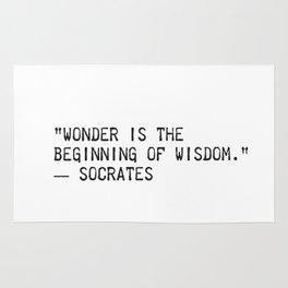 """Wonder is the beginning of wisdom.""  ― Socrates Rug"