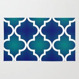 Quatrefoil - Teal and Blue Ombre Rug