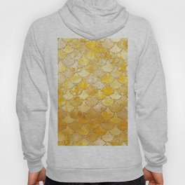 Sunny Gold Colorful Watercolor Trendy Glitter Mermaid Scales Hoody