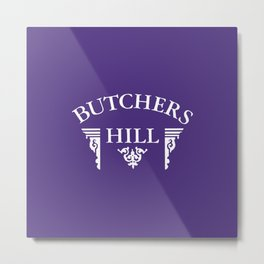 Butchers Hill Classic Logo on Purple Metal Print