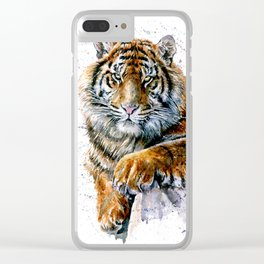Tiger watercolor Clear iPhone Case