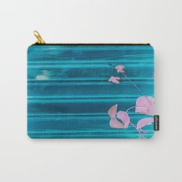 blue wooden wall pink jasmine minimal Carry-All Pouch