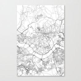 Seoul White Map Canvas Print