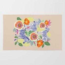 Zebra Idea, zebra print, animal print, flower print 2 Rug