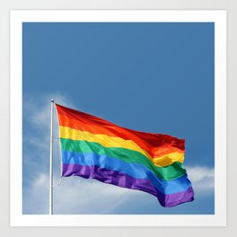 Rainbow flag waving proudly in the Castro district of San Francisco Art Print