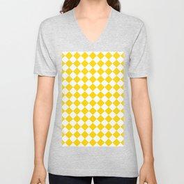 Diamonds - White and Gold Yellow Unisex V-Neck