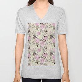 Vintage & Shabby Chic - Lush pastel roses and hummingbird pattern Unisex V-Neck