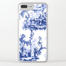 Blue Chinoiserie Toile Clear iPhone Case
