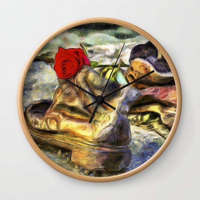 Shoes On The Danube Van Gogh Wall Clock