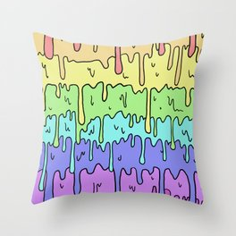Pastel Kawaii Melting Rainbow Design Throw Pillow
