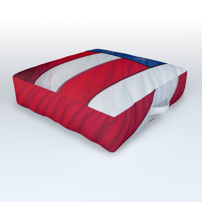 United States Flag flying in the breeze.  Long may she wave. Outdoor Floor Cushion