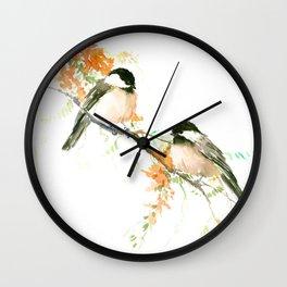 Chickadees and Orange Flowers Wall Clock