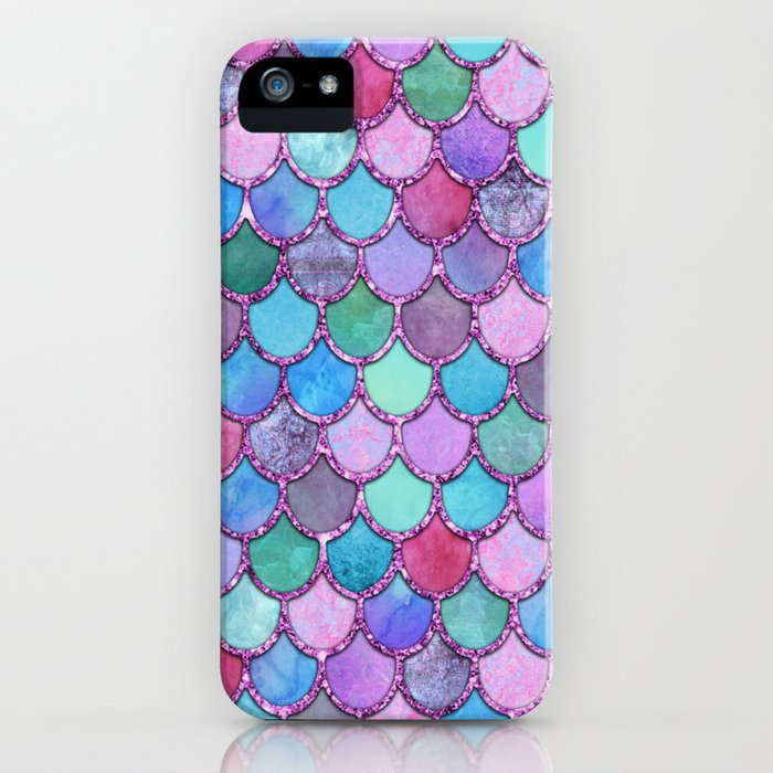 Colorful Pink Glitter Mermaid Scales iPhone Case
