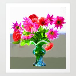 Green vase with bright colors Art Print