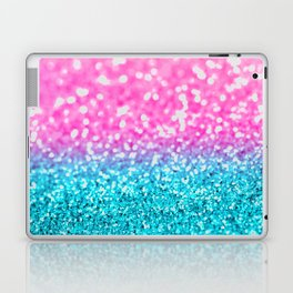 Aqua & Magenta Glitter Bubbles Laptop & iPad Skin