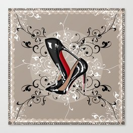 Red Bottom shoes with delicate lace Canvas Print