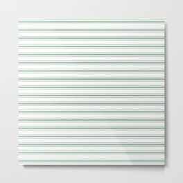 Moss Green and White Mattress Ticking Wide Striped Pattern Metal Print
