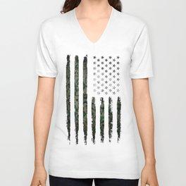 Khaki american flag Unisex V-Neck
