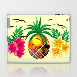 Pineapple Tropical Sunset, Palm Tree and Flowers Laptop & iPad Skin