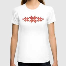 Scandinavian inspired print with red mini stars T-shirt