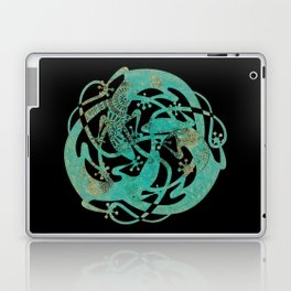 Lizards Mandala - Turquoise gold Laptop & iPad Skin