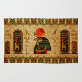 Egyptian Horus Ornament on Papyrus Rug