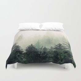Foggy Pine Trees Duvet Cover