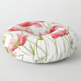Red Poppies, Illustration Floor Pillow