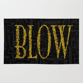 Blow BLACK & GOLD / Horn instruments forming type and background Rug