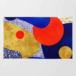 Terrazzo galaxy blue night yellow gold orange Rug