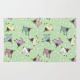Pajama'd Baby Goats - Green Rug