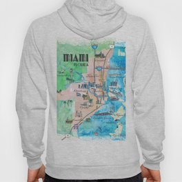 Miami Florida Fine Art Print Retro Vintage Map with Touristic Highlights Hoody