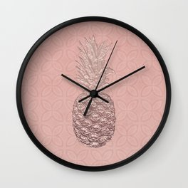 Precious Pineapple Pattern Rose Gold Wall Clock