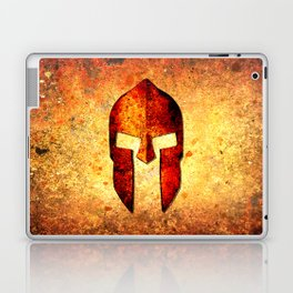 Spartan Helmet On Rust Background - Molon Labe Laptop & iPad Skin