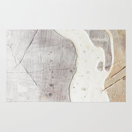 Feels: a neutral, textured, abstract piece in whites by Alyssa Hamilton Art Rug