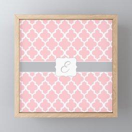 "Baby Pink Geometric Pattern with Silver ""E"" Monogram Framed Mini Art Print"