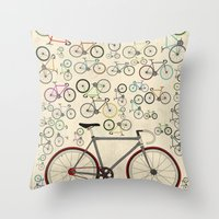 brompton Throw Pillows featuring Love Fixie Road Bike by Wyatt Design