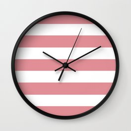 Ruddy pink - solid color - white stripes pattern Wall Clock