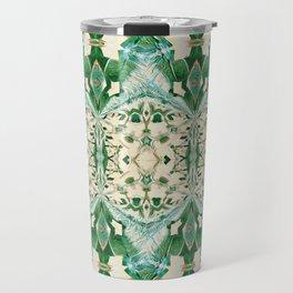Boujee Boho Green Lace Geometric Travel Mug