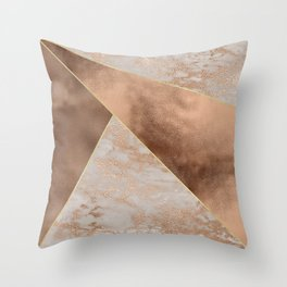 Copper Foil and Blush Rose Gold Marble Triangles Throw Pillow