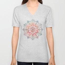 Autumn Spice Mandala in Coral, Cream and Rose Unisex V-Neck