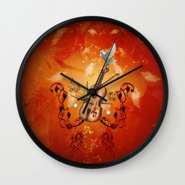 Violin with violin bow and dove Wall Clock